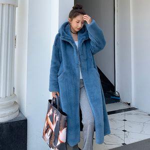 Winter Coat Women Rabbit Hair Fur Coat Korean Hooded Imitation Mink Hair Long Jacket Loose Thick Warm Faux Fur Jacket
