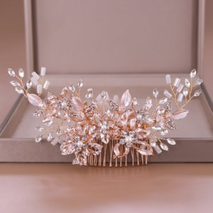 Trendy Rose gold Rhinestone Combs Accessories for Bridal Crystal Headpiece ornaments Wedding Hair Jewelry Q1124