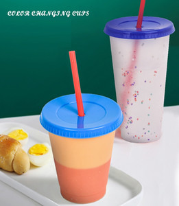 Magic Color Cup Skinny Tumblers Plastic Drinking Cup With Lid And Straw Candy Coffee Mug Water Bottles free fast sea shipping OOC2899
