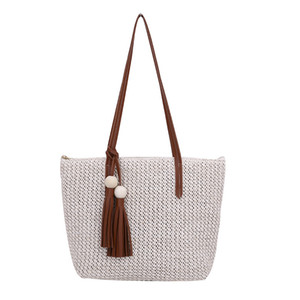 Fashion Women Straw Handbags Simple Ladies Tassel Beach Rattan Shoulder Bags Large Capacity Female Summer Vacation Casual Tote Q1129