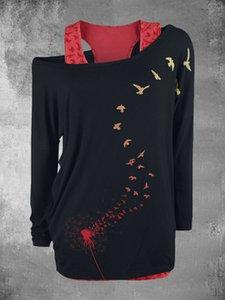 2020 Женская Осень New Two Piece Set Печатается с длинным рукавом пуловер платье