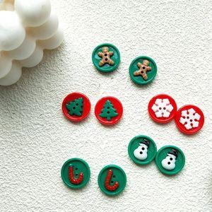 Christmas Snowflake Snowman Gingerbread Man Button Stud Earrings For Women Cute Fashion Creative Cane Earrings Studs Jewelry New