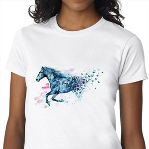 graphic tees tops Watercolor Horse tshirts gothic Lion kawaii Dog cat tshirt white top t shirt vintage clothes for women summer