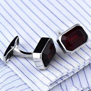 Octagon red zircon cufflinks Crystal French button
