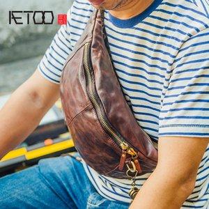 AETOO Handmade men's Chest Baotou cowhide shoulder bag to make old folds men's pockets