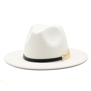 Hot Unisex Flat Brim Wool Felt Fedora Hats with Belt Red Black Patchwork Jazz Formal Hat Panama Cap Trilby Chapeau for Men Women