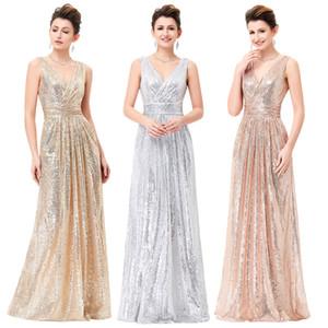 Sleeveless Women Dresses Summer Elegant V-Neck Shining Sequined Bridesmaids Wedding Party Dress Fashion Lady Long Dresses Female F1130