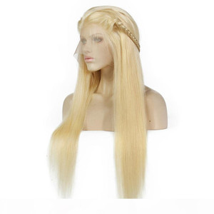 613# Blonde Human Hair Lace Front Wigs Long Straight Wig For Black Women Brazilian Full Lace Human Hair Wigs Pre-plucked Wholesale