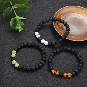 7 Chakra Bracelet for Men Women Yoga Healing Black Volcanic Rock Stone Bangle Jewelry Essential Oil Diffuser Bracelet 8 Styles Kimter-L951FA