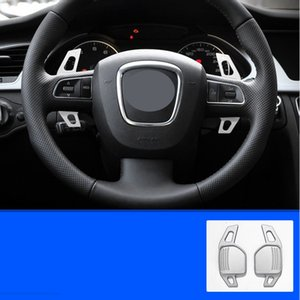 2Pcs Real Aluminium Alloy Car Automobile Steering Wheel Shift Paddle Shifter for Audi A4L A3 A5 A6L A7 A8 Q3 Q5L Q7 S4 Silver