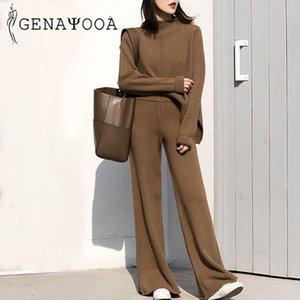 Genayooa Cashmere двух частей набор верхних и брюк 2020 зимний корейский женский трексуит набор корейских повседневных 2 частей наборы женские наряды