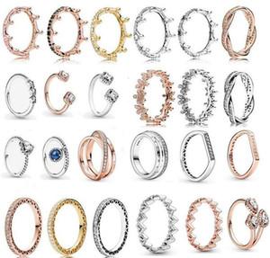 Spring Pandora Ring 925 Sterling Silver Rose Gold Pink Enchanted Crown Rings Original Fashion DIY Charms Jewelry For women Making