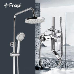 Frap 1 Set Badezimmer Niederschlagsdusche Wasserhahn Set Mischbatterie mit Handspritzer Wandmontage Badedusche Single Griff F2418 201105