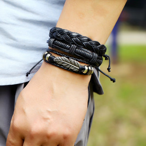 New Fashion Hip-Hop Bracelet Hand Made Bohemian Adjustable Multilayer Leather Bracelet Set With Wax Rope Mens Punk Style Handwear