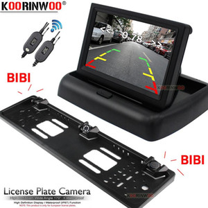 Koorinwoo Wireless Parkmaster EU Number License Plate Frame Rear view camera Car parking Sensors 2 With LCD Car Monitor NO Drill