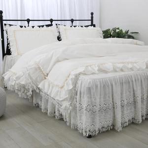 Super Luxury Lace Countrding Set Top Princess Bedding para Rain Size Roupa Ruffle Decorativo Duveta Capa de Capa de Cama Set