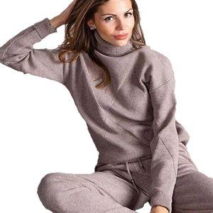 MVGIRLRU tricoter des femmes Costume Casual Knit Survêtement + pantalon overs à col roulé Deux séries de pièce femelle Tenues A1112