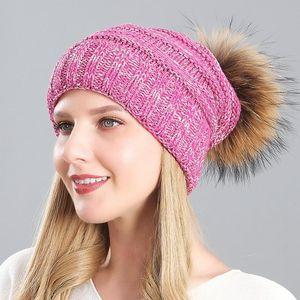 Woolen Cap Really Sleeve Cap Fur Ball Fur Hat for Raccoon Dog Women Hats