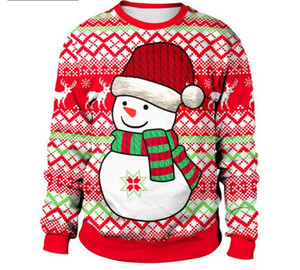Santa Claus Printed Loose Sweater Men Women Pullover Christmas Novelty Autumn Winter Tops Clothing