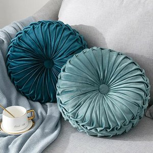 Nuevo casero Textil Terciopelo Plisado Plisado Redondo Cojín Sólido Cojín Pouf Tiro Inicio Cojín suave Moda Pillow Caliente EWD3304