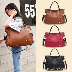 Large Capacity Soft Leather Bag Bag Womens New European and American Fashion & Trend Handbag Simple Shoulder Bag Messenger