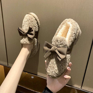 Round Toe Winter Shoes Women Loafers Fur Casual Female Sneakers Flats Bow-Knot Moccasin New Dress Butterfly Flock Basic Lace-Up