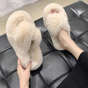 Lluumiu Women Furry Bont Slides Indoor Home Slippers Nice Pluche Vos Hair Plush Sandals Bont Slippers Winter Hot Shoes Women