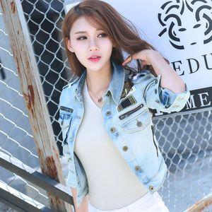 Women Jeans Jackets Short Tops 2020 Spring Autumn Long Sleeve Blue Denim Coats Vintage Zipper For Women Clothing Chaqueta Mujer