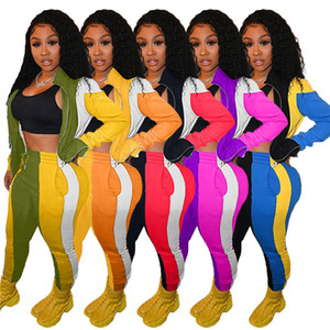 hot women hoodie legging 2 piece set outfits long sleeve tracksuit jacket pants sportswear bodycon outerwear tights sports set H9146