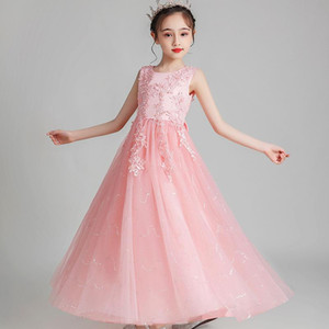 Summer White Long Party Dress Bridesmaid Pageant Flower Evening Dress Kids Dresses For Girls Children Princess 4-14 Years