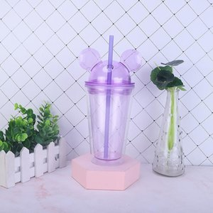 DHL 8 colors 15oz Acrylic tumbler with dome lid plus straw double Wall Clear Plastic Tumblers with Mouse Ear Reusable cute drink cup PPD4068
