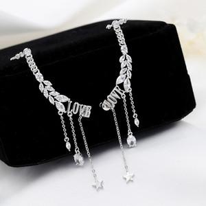 Korean fashion luxury inlaid zircon LOVE letter tassel earrings jewelry women trend romantic 18k gold plated star drop earrings holiday gift