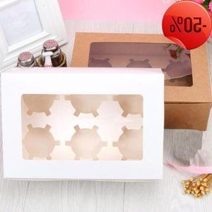 10pcs Storage Bakery Dessert Paperboard Gift Case Clear Window 6 Holes Wedding Party Cupcake Box Packaging QLY1167