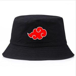 2020 Naruto Akatsuki Kırmızı Bulut Baskı Yaz Şapka kadın erkek Panama Kova Kapağı Tasarım Düz Vizör Balıkçı Hat1