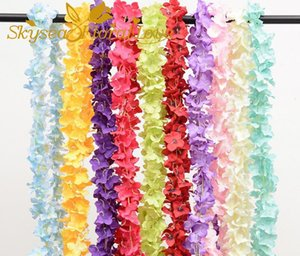 Artificial flowers Hydrangea flowers violet wall hanging flower vine fake wisteria wedding bean string decoration flower