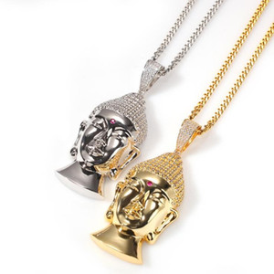 New gold-plated large Buddha head necklace European and American hip-hop copper inlaid zircon domineering high-quality necklace