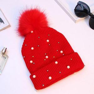 Ladies Warm Thick Knitted Wool Beanies Hat Imitation Pearls Fur Pom Ball Pompom Bonnet Cap Skullies Hat for Women Streetwear