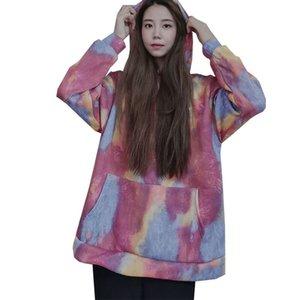 Tie Dye Kapüşonlular Kadın Sonbahar Kış Sıcak Bayanlar Kızlar Hoodie Kapşonlu Büyük Boy Kadınlar Sweatershirt Tops yazdır