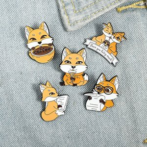 Cute doctor fox Enamel Lapel Pins Like reading & coffee Brooches Badges Fashion Cartoon Pins Gifts for Friend Jewelry Wholesale