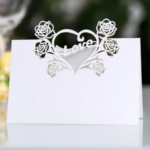 50 Pcs Paper Vintage Solid Seat Birthday Holder Love Heart Decoration Number Name Place Cards Party Wedding Table Hollowed Out