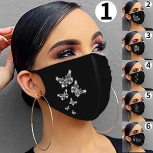DHL شحن أشخاص ترف بلينغ حزب الترتر MasksMouth غطاء قابلة لإعادة الاستخدام فراشة الكرتون تنفس الأسود قناع فارغ