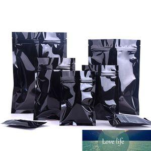 100 шт. Глянцевая черная алюминиевая фольга закусок розничная розничная упаковка упаковки сумка ZIP замок тепловой уплотнение миларные гайки упаковочные пакеты