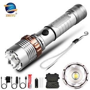 Жию светодиодный фонарик тактический электрический факел T6 Zoomable 5 режимов LANTERNA TORCH 18650 аккумуляторная аккумулятор для отдыха на открытом воздухе 201207