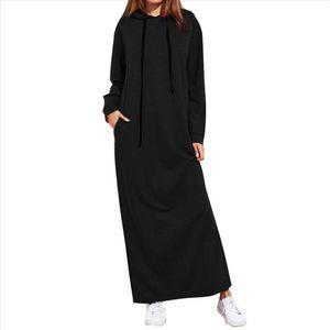 Women Hoodies Dress Winter Warm Long Maxi Dress Long Sleeve Hooded Casual Hoodies Sweatshirt Dresses Vestidos De Festa 38