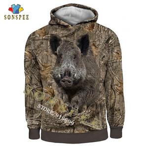 SONSPEE CAMO Funda larga camisetas con capucha Impresión 3D con capucha / sudadera / con cremallera hombre hombre mujer jungla caza jabalí listos Q1205