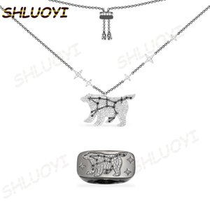 SHLUOYI High quality s9251:1 reproduction, dark grey silver big bear constellation adjustable lady jewelry necklace