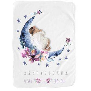 Baby Blanket Moon Flour Swaddle Blanket Sleeping Swaddle Wrap Super Soft Flannel Milestone Blanket Play Mat Photo Prop LJ200819