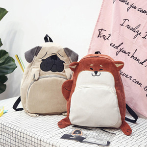 new fashion women school bag canvas cute animal ear embroidery corduroy female vintage notebook backpack