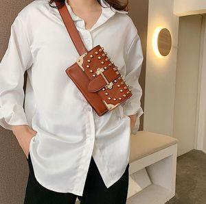 Designer-Female Rivet Waist Bag Ins Women Chest Bag Single Chain Shoulder Crossbody Double Shoulder Strap