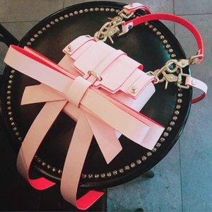Tekiessica Projetado Lolita Super Big Bowtie Rosa Verde Couro Mulheres Meninas Flap 2 Correias Bolsa de Ombro Cadeia Messenger Bag
